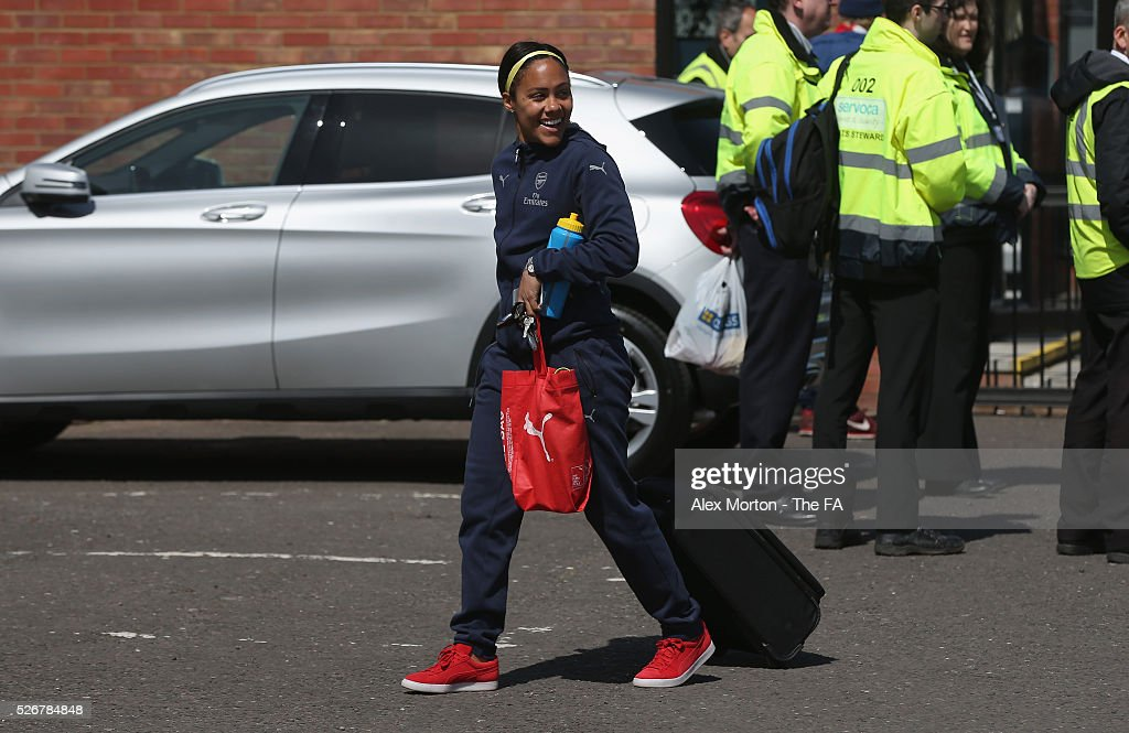 Alex Scott arrives at Meadow Park prior to the WSL match between Arsenal Ladies and Birmingham City Ladies at Meadow Park on May 1, 2016 in Borehamwood, England.