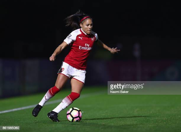 Alex Scott in action during the FA Women's Super League Continental Cup match between Arsenal and London Bees on October 12 2017 in Borehamwood...