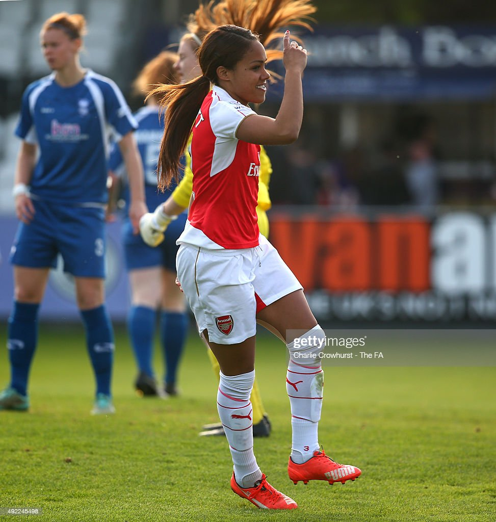 Alex Scott of Arsenal celebrates after scoring the teams third goal of the game during the Continental Cup SemiFinal match between Arsenal Ladies and...