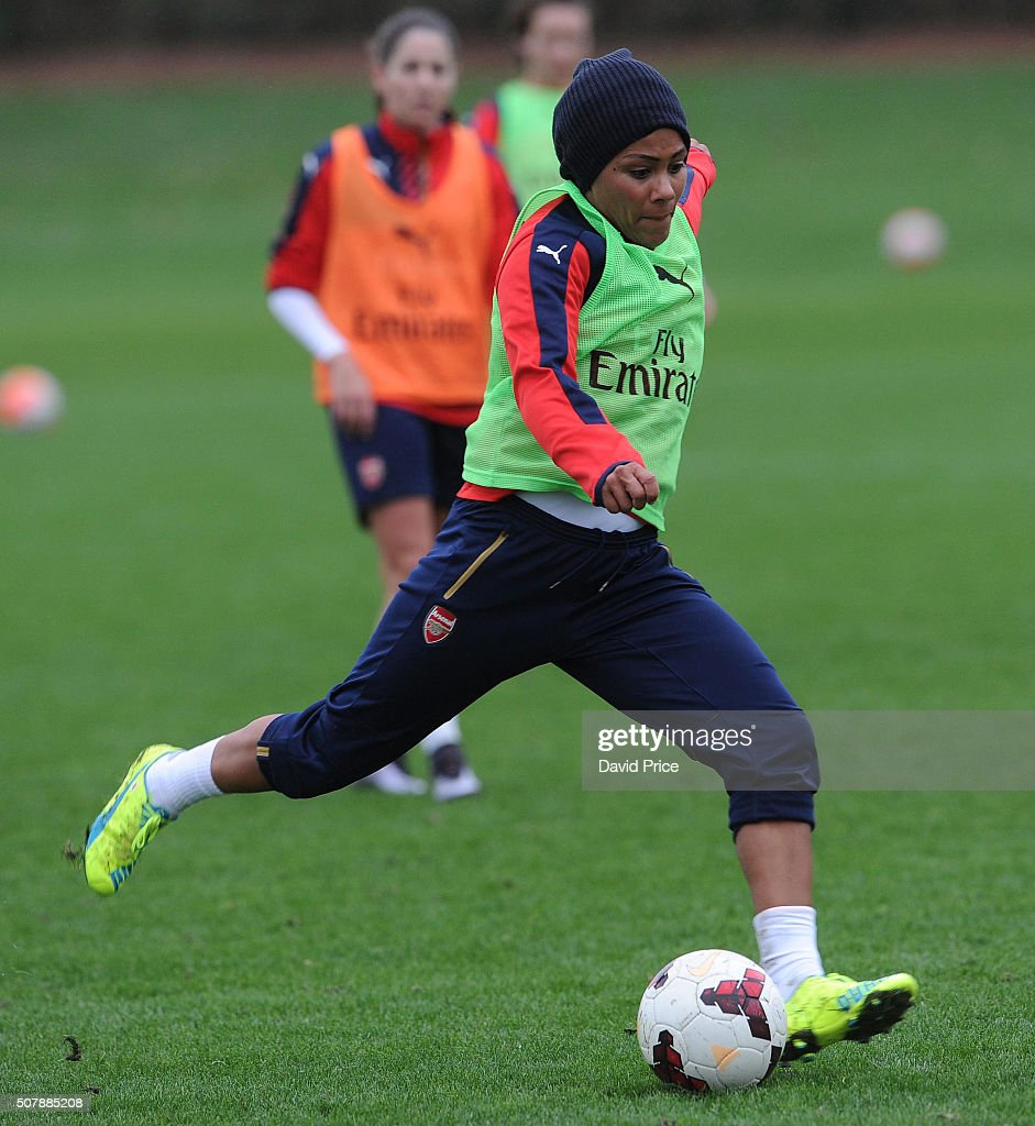 Alex Scott of Arsenal Ladies during their training session at London Colney on January 29, 2016 in St Albans, England.