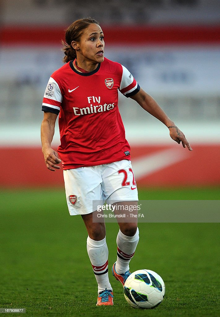 Alex Scott of Arsenal Ladies in action during the The FA WSL Continental Cup match between Lincoln Ladies and Arsenal Ladies at Sincil Bank Stadium on May 2, 2013 in Lincoln, England.