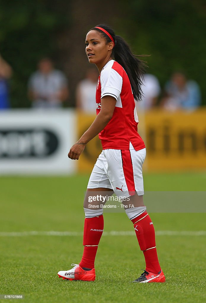 Alex Scott of Arsenal Ladies looks dejected after passing the ball back to score an own goal during the FA WSL 1 match between Chelsea Ladies FC and...
