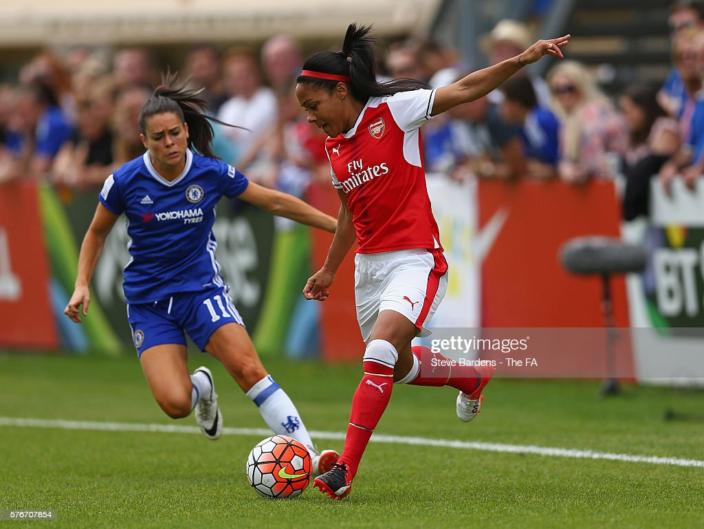 Alex Scott of Arsenal Ladies passes the ball back to score an own goal during the FA WSL 1 match between Chelsea Ladies FC and Arsenal Ladies at...