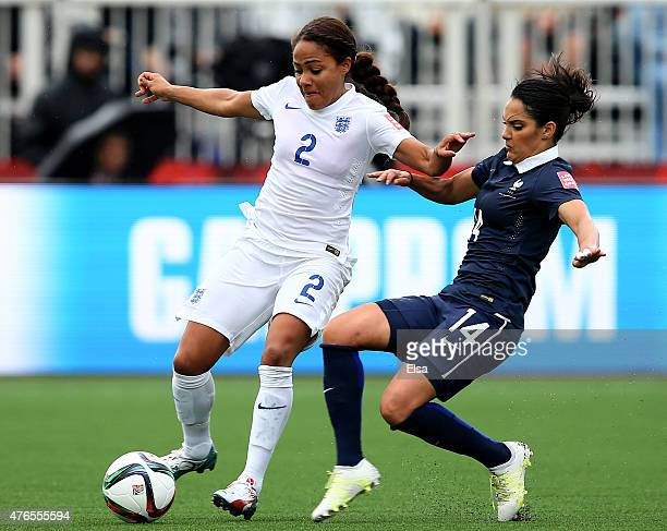Alex Scott of England controls the ball as Louisa Necib of France tries to knock it away during the FIFA Women's World Cup 2015 Group F match at...