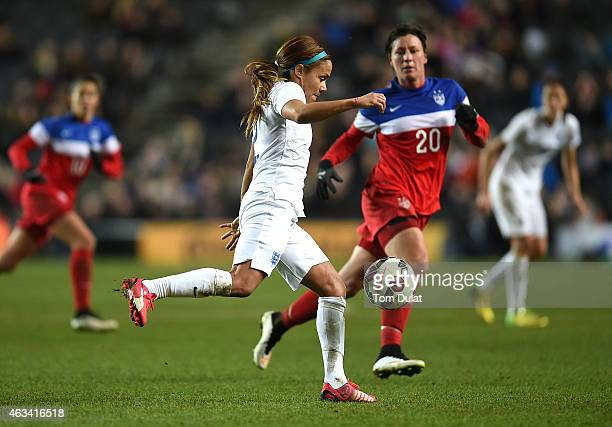 Alex Scott of England in action during the Women's Friendly International match between England and USA at Stadium mk on February 13 2015 in Milton...