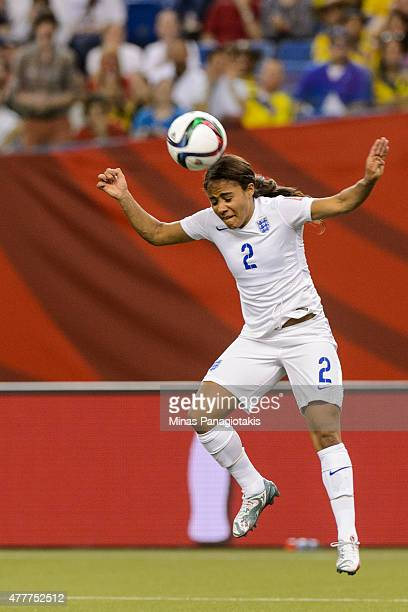 Alex Scott of England jumps for the ball during the 2015 FIFA Women's World Cup Group F match against Colombia at Olympic Stadium on June 17 2015 in...