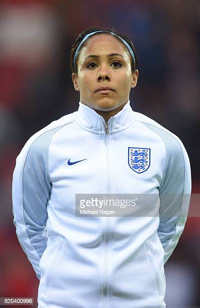Alex Scott of England looks on during the UEFA Women's European Qualifer between England and Belgium at The New York Stadium on April 8 2016 in...