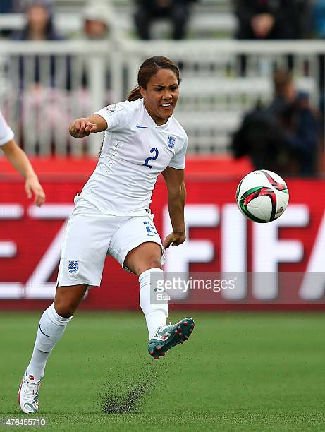 Alex Scott of England passes the ball in the second half against France during the FIFA Women's World Cup 2015 Group F match at Moncton Stadium on...