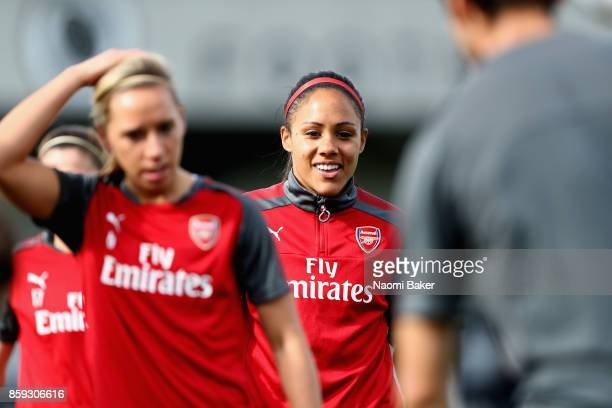 Alex Scott warms up prior to the Women's Super League 1 match between Arsenal and Bristol City at Meadow Park Boreham Wood on October 8 2017 in...
