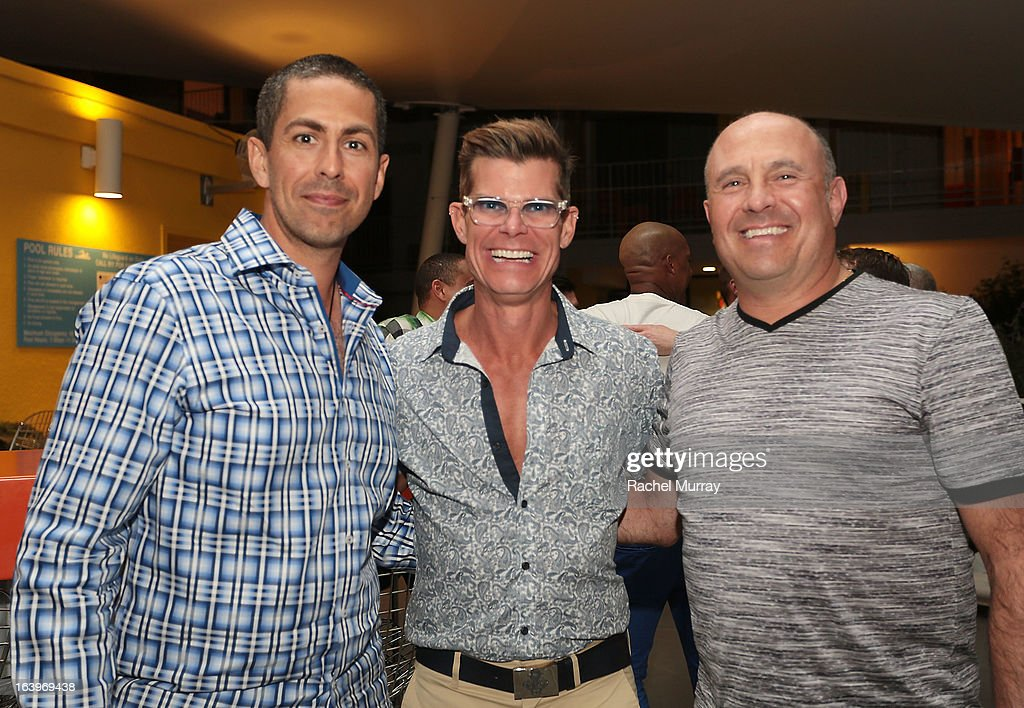 Alex Scotta, Host Lenny Strand, and Adam Berman attend a Tequila Tasting during the Bash To Banish Bullying Benefiting It Gets Better, a Matrix Chairs Of Change Event - Day 1 at Saguaro Hotel on March 16, 2013 in Palm Springs, California.