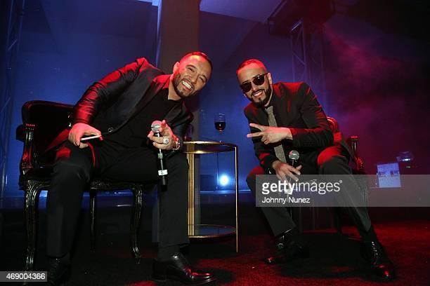 Alex Sensation and Yandel speak onstage during the 'Camino Al Concierto' PreConcert Screening at Center 548 on April 7 in New York City