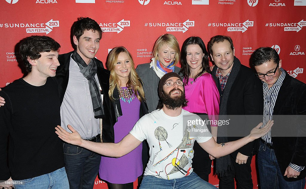 Alex Shaffer, Josh Harto, Kristen Bell, Mamie Gummer, Liz Garcia, Josh Harto, Paulie Litt (back row) and Martin Starr (front) arrive at 'The Lifeguard' Premiere - 2013 Sundance Film Festival at Library Center Theater on January 19, 2013 in Park City, Utah.