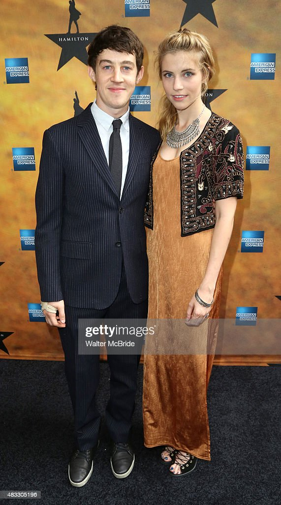 Alex Sharp and Wallis Currie-Wood attend the Broadway Opening Night Performance of 'Hamilton' at the Richard Rodgers Theatre on August 6, 2015 in New York City.