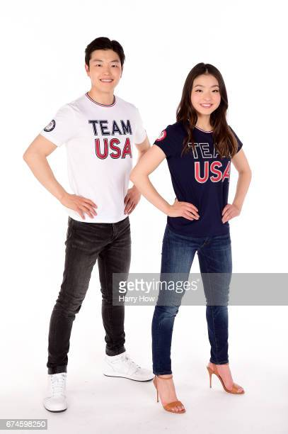 Alex Shibutani and Maia Shibutani pose for a portrait during the Team USA PyeongChang 2018 Winter Olympics portraits on April 28 2017 in West...