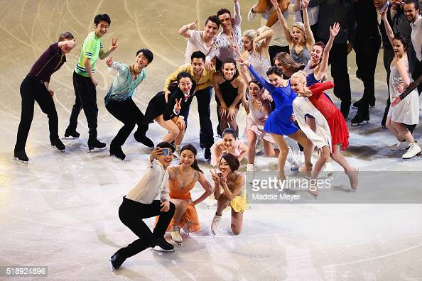 Alex Shibutani of the United States bottom let takes a selfie with other figure skaters during the Exhibition of Champions on Day 7 of the ISU World...