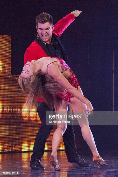Alex Skarlatos and Lindsay Arnold perform live onstage during Dancing With The Stars Live 'Dance All Night Tour' at Beacon Theatre on January 6 2016...