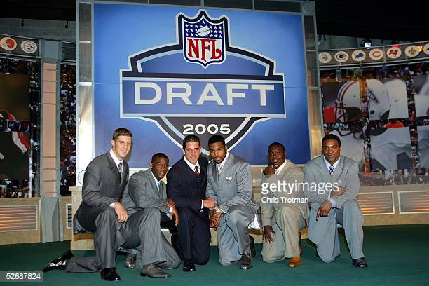 Alex Smith Antrel Rolle Aaron Rodgers Braylon Edwards Ronnie Brown and Cedric Benson pose during the 70th NFL Draft on April 23 2005 at the Jacob K...