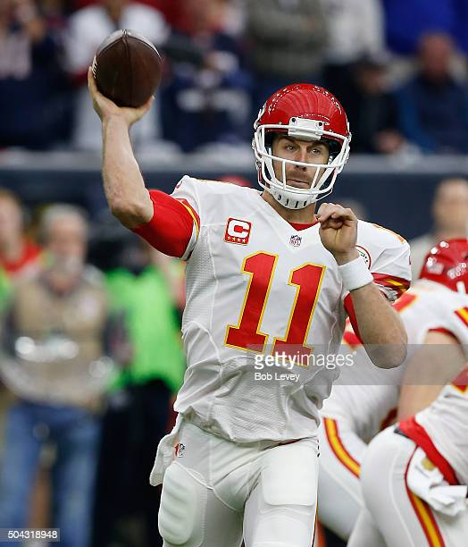 Alex Smith of the Kansas City Chiefs during the AFC Wild Card Playoff game at NRG Stadium on January 9 2016 in Houston Texas