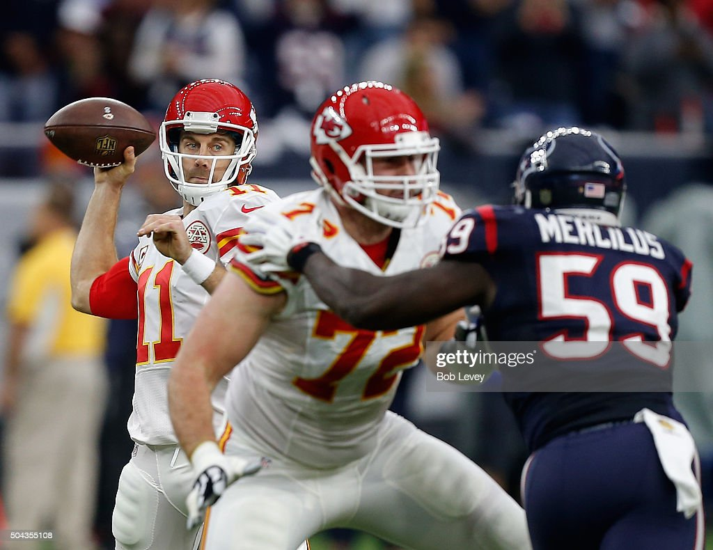 <a gi-track='captionPersonalityLinkClicked' href=/galleries/search?phrase=Alex+Smith+-+American+Football+Quarterback&family=editorial&specificpeople=4584854 ng-click='$event.stopPropagation()'>Alex Smith</a> #11 of the Kansas City Chiefs looks for a receiver as <a gi-track='captionPersonalityLinkClicked' href=/galleries/search?phrase=Eric+Fisher+-+American+Football+Player&family=editorial&specificpeople=10866831 ng-click='$event.stopPropagation()'>Eric Fisher</a> #72 blocks <a gi-track='captionPersonalityLinkClicked' href=/galleries/search?phrase=Whitney+Mercilus&family=editorial&specificpeople=7197482 ng-click='$event.stopPropagation()'>Whitney Mercilus</a> #59 of the Houston Texans during the AFC Wild Card game at NRG Stadium on January 9, 2016 in Houston, Texas.