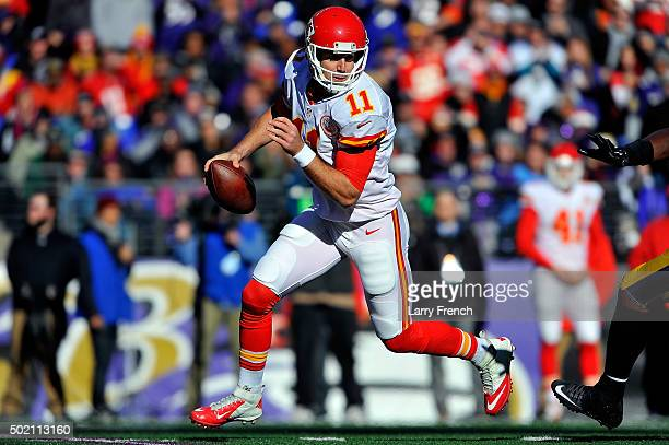 Alex Smith of the Kansas City Chiefs looks to pass the ball during the game gainst the Baltimore Ravens at MT Bank Stadium on December 20 2015 in...