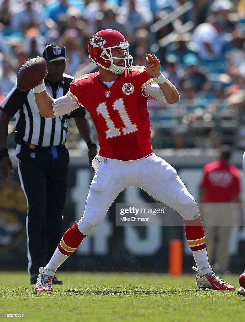 <a gi-track='captionPersonalityLinkClicked' href=/galleries/search?phrase=Alex+Smith+-+American+Football+Quarterback&family=editorial&specificpeople=4584854 ng-click='$event.stopPropagation()'>Alex Smith</a> #11 of the Kansas City Chiefs passes during a game against the Jacksonville Jaguars at EverBank Field on September 8, 2013 in Jacksonville, Florida.