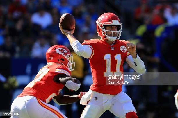 Alex Smith of the Kansas City Chiefs passes the ball during the second half of a game against the Los Angeles Chargers at StubHub Center on September...