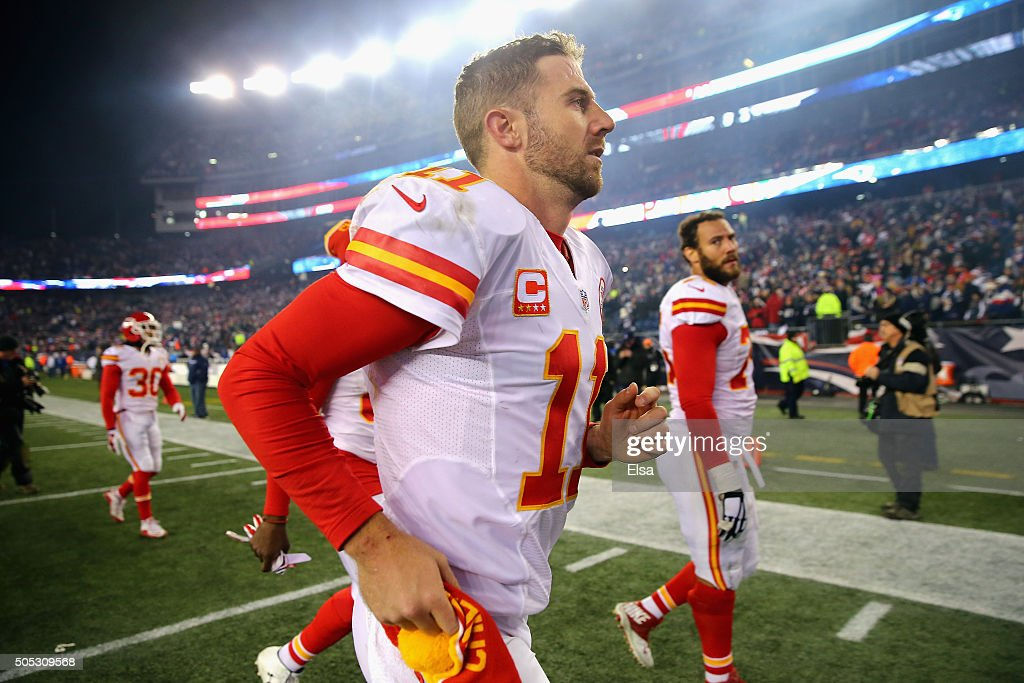 Alex Smith #11 of the Kansas City Chiefs runs off the field after being defeated by the New England Patriots during the AFC Divisional Playoff Game at Gillette Stadium on January 16, 2016 in Foxboro, Massachusetts. The Patriots defeated the Chiefs 27-20.