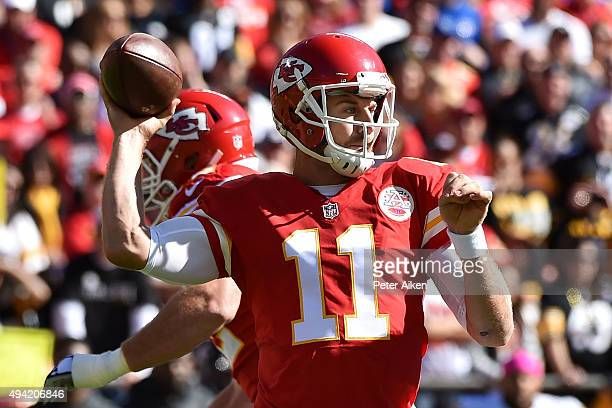 Alex Smith of the Kansas City Chiefs throws a pass against the Pittsburgh Steelers at Arrowhead Stadium during the game on October 25 2015 in Kansas...
