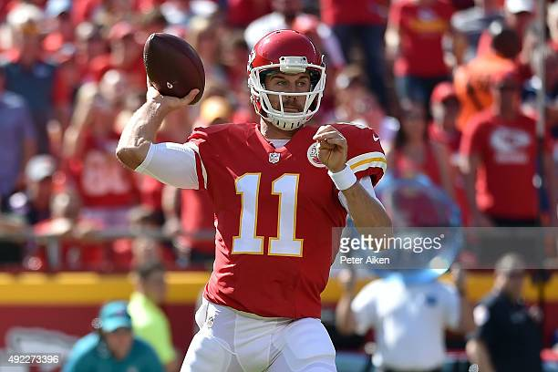 Alex Smith of the Kansas City Chiefs throws a pass at Arrowhead Stadium during the game on October 11 2015 in Kansas City Missouri
