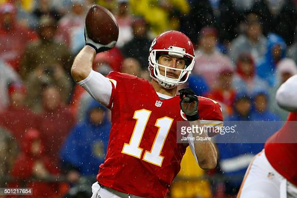 Alex Smith of the Kansas City Chiefs throws a pass at Arrowhead Stadium during the first quarter against the San Diego Chargers on December 13 2015...