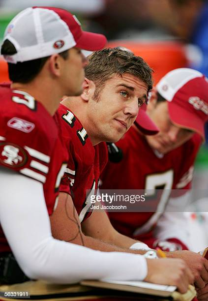 Alex Smith of the San Francisco 49ers looks on towards the end of the game against the Arizona Cardinals on December 4 2005 at Monster Park in San...