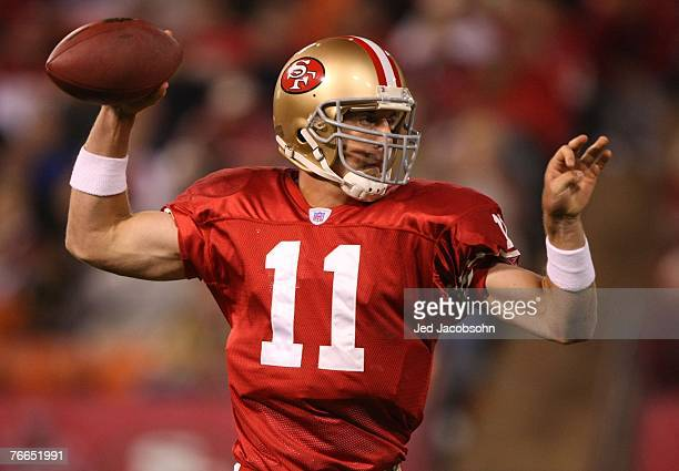 Alex Smith of the San Francisco 49ers passes against the Arizona Cardinals during an NFL game on September 10 2007 at Monster Park in San Francisco...