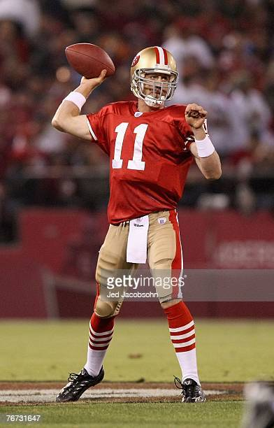 Alex Smith of the San Francisco 49ers passes during an NFL game against the Arizona Cardinals on September 10 2007 at Monster Park in San Francisco...