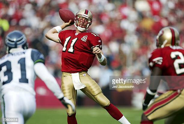Alex Smith of the San Francisco 49ers passes the ball during the NFL game against the Seattle Seahawks at Monster Park on November 19 2006 in San...