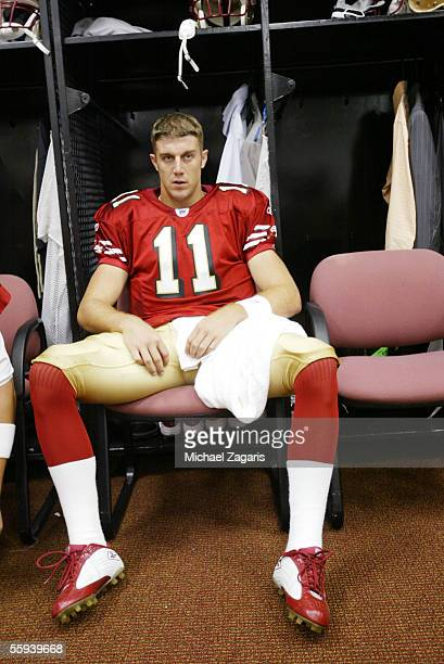 Alex Smith of the San Francisco 49ers preps in the locker room before the game against the Indianapolis Colts at Monster Park on October 9 2005 in...