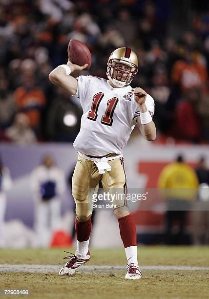 Alex Smith of the San Francisco 49ers throws against the Denver Broncos at Invesco Field at Mile High December 31 2006 in Denver Colorado The 49ers...