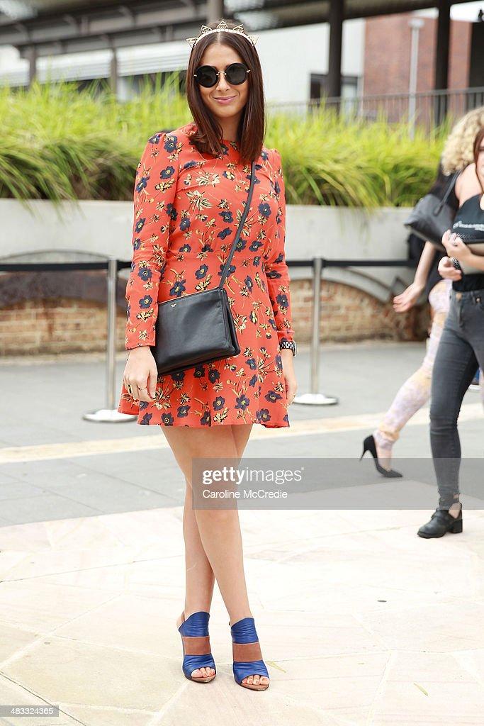 Alex SmithKirk wearing a House of Hackney dress Vira Xane jewellery at MercedesBenz Fashion Week Australia 2014 at Carriageworks on April 8 2014 in...