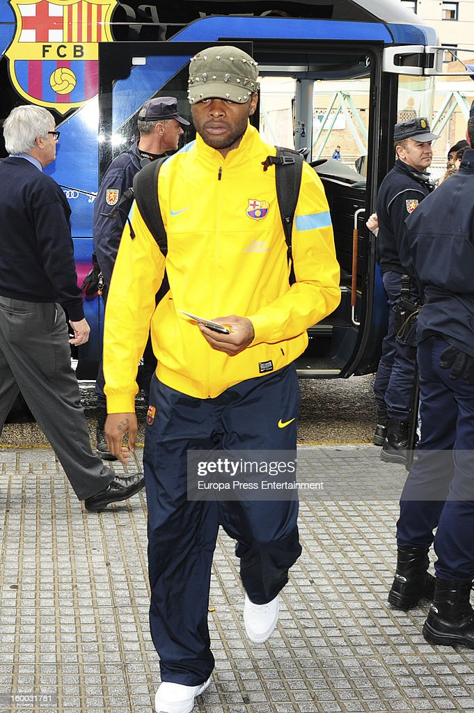 <a gi-track='captionPersonalityLinkClicked' href=/galleries/search?phrase=Alex+Song&family=editorial&specificpeople=652067 ng-click='$event.stopPropagation()'>Alex Song</a> is seen arriving at hotel before the match against Malaga CF for the Copa del Rey Quarter Final on January 24, 2013 in Malaga, Spain.