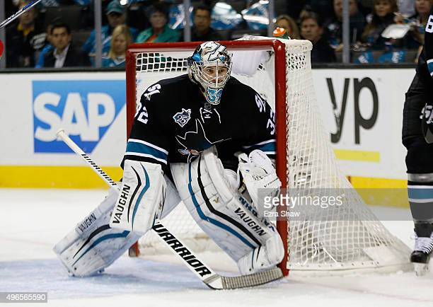 Alex Stalock of the San Jose Sharks in action against the Florida Panthers at SAP Center on November 5 2015 in San Jose California