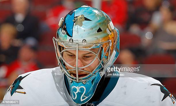 Alex Stalock of the San Jose Sharks in action against the New Jersey Devils at the Prudential Center on March 2 2014 in Newark New Jersey The Sharks...