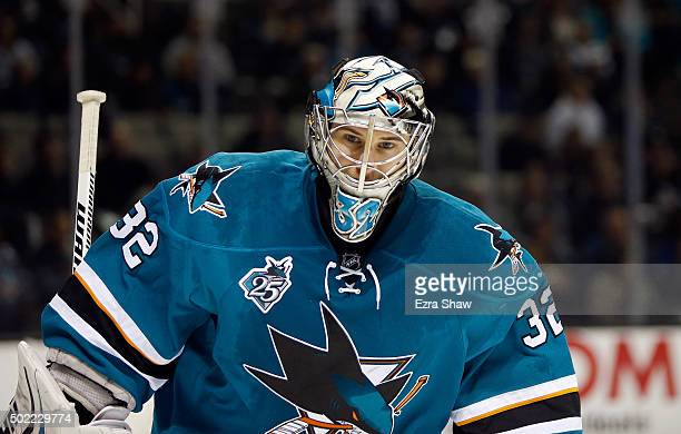 Alex Stalock of the San Jose Sharks in action against the New York Islanders at SAP Center on November 10 2015 in San Jose California