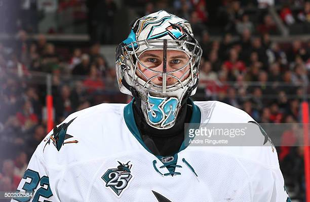 Alex Stalock of the San Jose Sharks looks on during a stoppage in play against the Ottawa Senators at Canadian Tire Centre on December 18 2015 in...