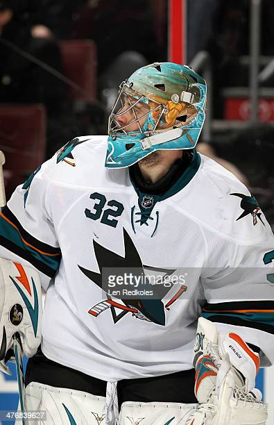Alex Stalock of the San Jose Sharks looks on during his game against the Philadelphia Flyers on February 27 2014 at the Wells Fargo Center in...