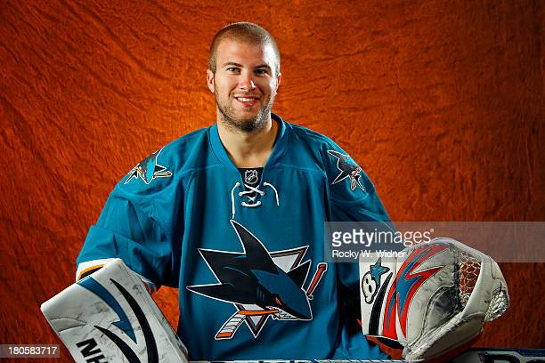Alex Stalock of the San Jose Sharks poses for a portrait on media day at the San Jose Sharks practice facility on September 11 2013 in San Jose...