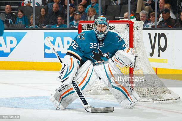 Alex Stalock of the San Jose Sharks protects the net against the Dallas Stars at SAP Center on April 6 2015 in San Jose California