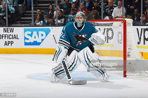 Alex Stalock of the San Jose Sharks protects the net against the Calgary Flames at SAP Center on February 11 2016 in San Jose California