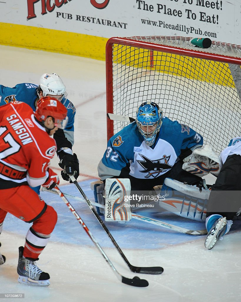<a gi-track='captionPersonalityLinkClicked' href=/galleries/search?phrase=Alex+Stalock&family=editorial&specificpeople=1966875 ng-click='$event.stopPropagation()'>Alex Stalock</a> #32 of the Worcester Sharks defends the net against the Charlotte Checkers at the DCU Center on November 27, 2010 in Worcester Massachusetts.