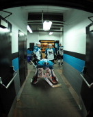 Alex Stalock of the Worcester Sharks gets ready to take the ice for action against the Charlotte Checkers at the DCU Center on November 27 2010 in...