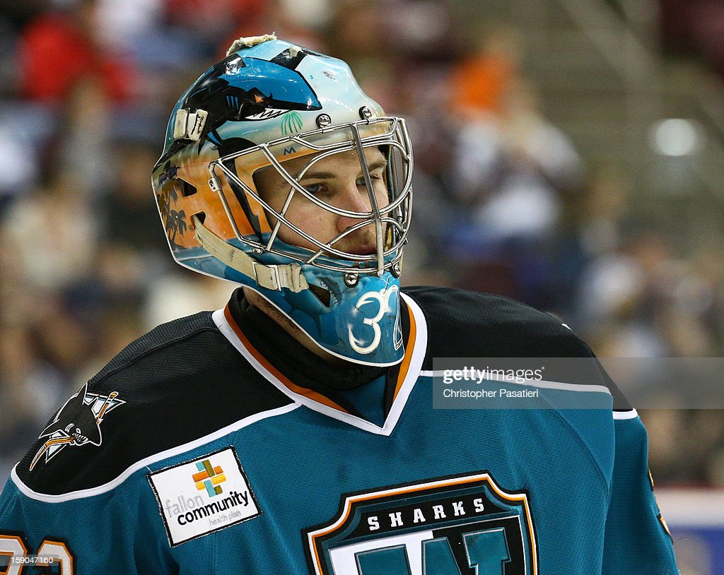 <a gi-track='captionPersonalityLinkClicked' href=/galleries/search?phrase=Alex+Stalock&family=editorial&specificpeople=1966875 ng-click='$event.stopPropagation()'>Alex Stalock</a> #32 of the Worcester Sharks looks on during an American Hockey League game against the Hershey Bears on January 6, 2013 at the Giant Center in Hershey, Pennsylvania.