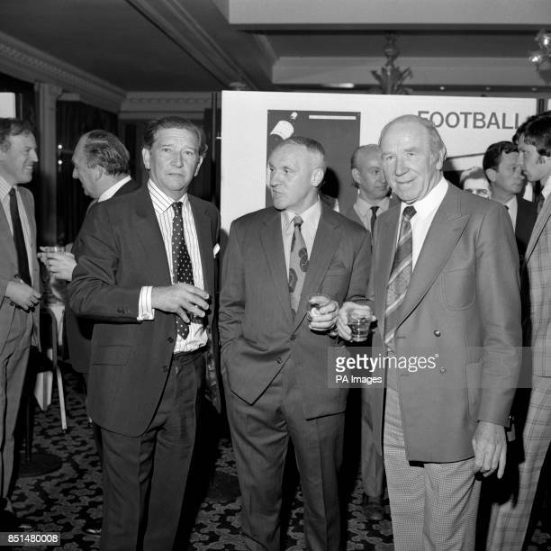 Alex Stock Fulham manager Bill Shankly former Liverpool manager and Sir Matt Busby Manchester United director during a reception prior to the Manager...